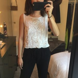Brandy Melville embroidered white blouse
